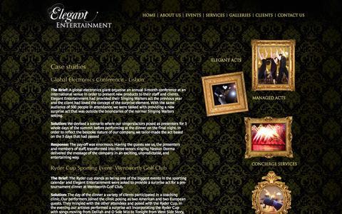 Screenshot of Case Studies Page elegant-entertainment.com - Case studies :: Elegant entertainment - captured Sept. 29, 2014