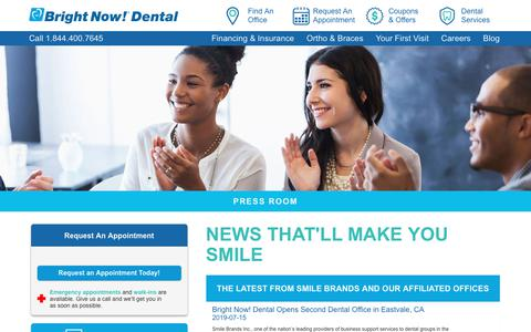 Screenshot of Press Page brightnow.com - Read the Latest Dental News About Smile Brands Offices | Bright Now! Dental - captured July 19, 2019