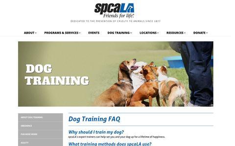 Screenshot of FAQ Page spcala.com - Training FAQ   spcaLA - captured Aug. 15, 2016