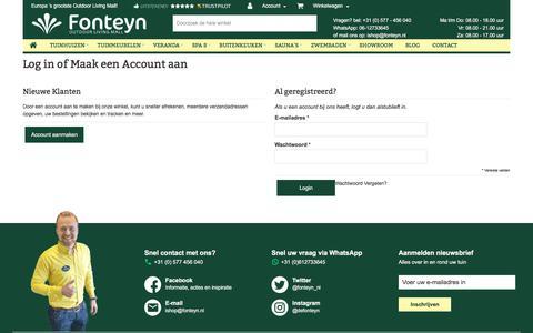 Screenshot of Login Page fonteyn.nl - Klant Login - captured July 30, 2017