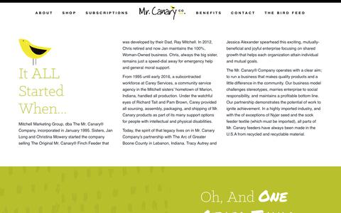 Screenshot of About Page mrcanary.com - The Mr. Canary Company - captured Oct. 18, 2018
