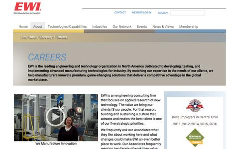 Screenshot of Jobs Page ewi.org - Careers | Materials Joining, Forming, Testing, Modeling, and Engineering Consulting Services – EWI - captured July 10, 2016