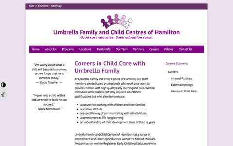 Screenshot of Jobs Page umbrellafamily.com - Umbrella Family Careers | Umbrella Family - captured Nov. 3, 2017