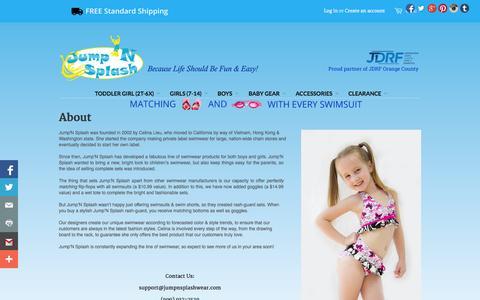 Screenshot of About Page jumpnsplashwear.com - About - Jump'N Splash Kids Swimwear - captured Oct. 27, 2014