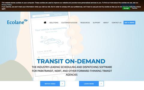 Screenshot of Home Page ecolane.com - Transit and Paratransit Transportation Scheduling Software Provider - captured Sept. 13, 2018