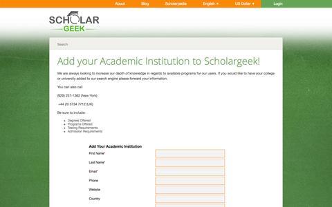 Screenshot of Signup Page scholargeek.org - Become an Academic Partner - captured Sept. 30, 2014