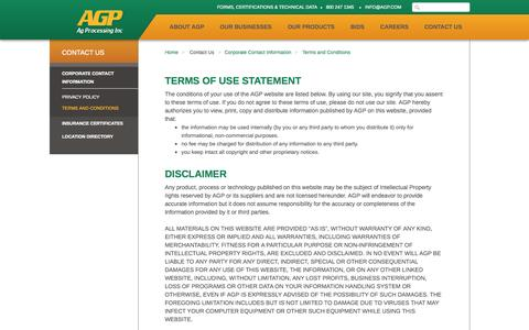 Screenshot of Terms Page agp.com - AGP - Terms and Conditions - captured Oct. 4, 2014