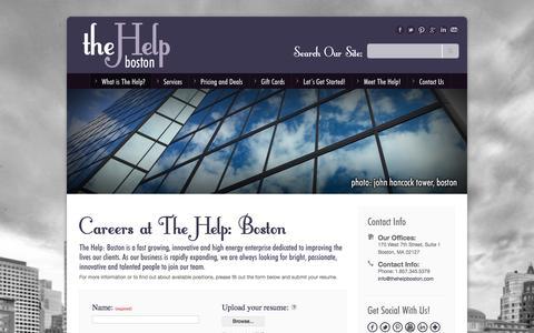 Screenshot of Jobs Page thehelpboston.com - The Help: BostonThe Help: Boston - Careers - captured Sept. 30, 2014