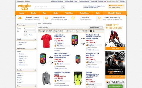 Screenshot of Products Page wiggle.co.uk - Wiggle | Recently Added | - captured Sept. 18, 2014