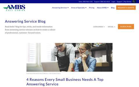 Screenshot of Blog ambscallcenter.com - Answering Service Blog - captured Nov. 9, 2019
