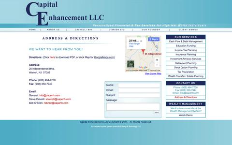 Screenshot of Contact Page Maps & Directions Page capenh.com captured Jan. 25, 2016