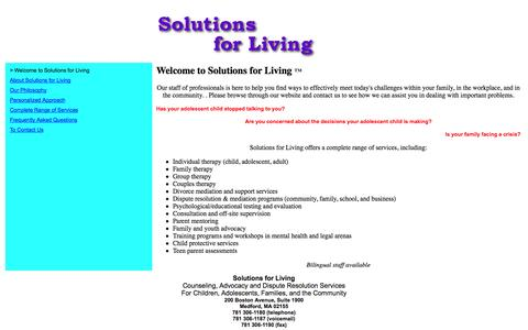 Screenshot of Home Page solutionsforliving.org - Welcome To Solutions for Living - captured Oct. 9, 2014