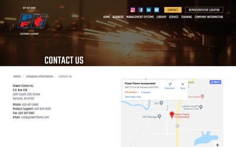 Screenshot of Contact Page powerflame.com - Contact Power Flame | Commercial Burners & Boiler Burners - captured Sept. 29, 2018