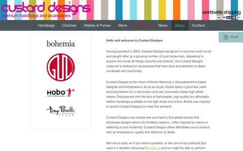 Screenshot of About Page custarddesigns.com - Handbags & Purses | Hobo the Original | Bohemia Designs | Tony Perotti - captured July 18, 2016