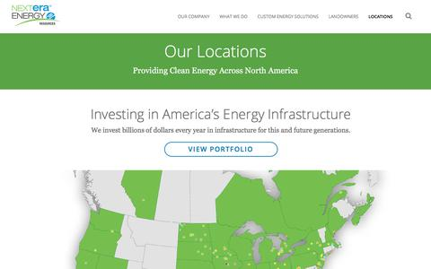 Screenshot of Locations Page nexteraenergyresources.com - NextEra Energy Resources | Locations Map - captured Sept. 22, 2018