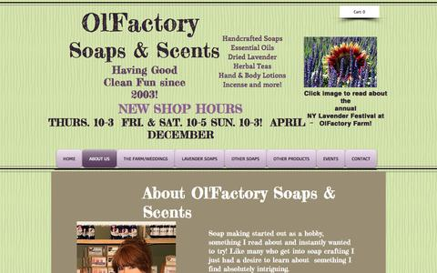 Screenshot of About Page olfactorysoaps.com - Olfactory Soaps & Scents  | ABOUT US - captured April 10, 2017