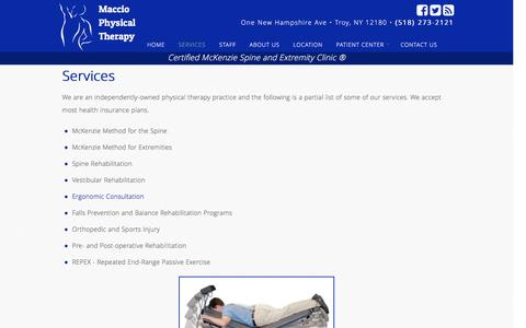 Screenshot of Services Page macciophysicaltherapy.com - Maccio Physical Therapy Services | Maccio Physical Therapy - captured July 21, 2016