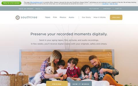 Screenshot of Home Page southtree.com - Southtree.com | Convert Home Movies to DVD - captured Dec. 26, 2015