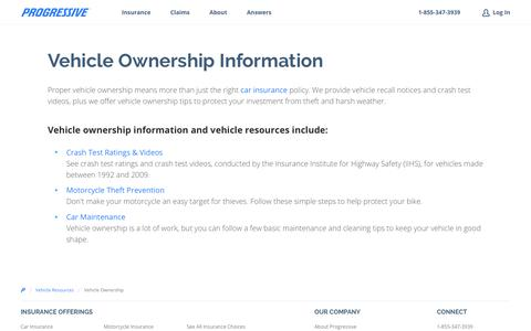 Vehicle Ownership Information - Vehicle Resources