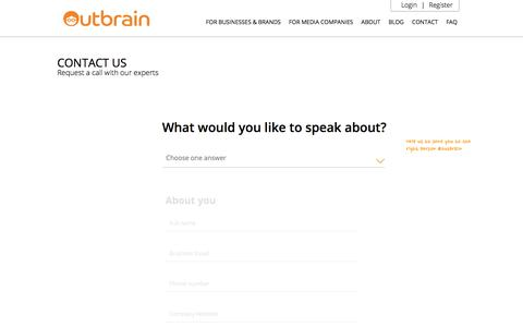 Screenshot of Contact Page outbrain.com - Contact Us And Get Started | Outbrain.com - captured July 7, 2017