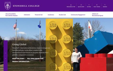 Screenshot of Home Page stonehill.edu - Stonehill College ∙ Easton, Massachusetts·A Catholic college founded by the Congregation of Holy Cross - captured Sept. 22, 2018