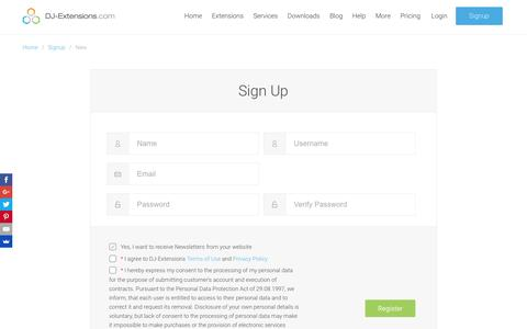 Screenshot of Signup Page dj-extensions.com - Sign Up â—� DJ-Extensions.com - captured July 31, 2016