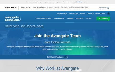 Screenshot of Jobs Page avangate.com - Avangate job opportunities - captured June 11, 2017