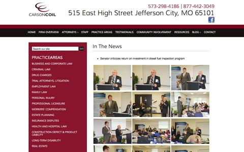 Screenshot of Press Page carsoncoil.com - In The News | Carson & Coil | Jefferson City, Missouri - captured Oct. 2, 2014