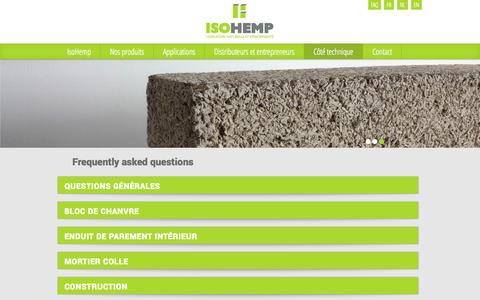 Screenshot of FAQ Page isohemp.be - FAQ - Bloc de chanvre - captured Oct. 6, 2014