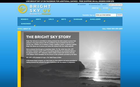 Screenshot of About Page brightskyuv.com - About Us - captured Sept. 30, 2014