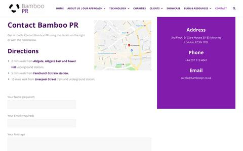 Screenshot of Contact Page bamboopr.co.uk - Contact Bamboo PR - Technology PR, marketing and social media agency - captured Nov. 6, 2018