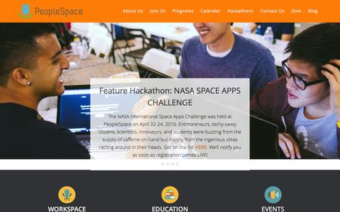 Screenshot of Home Page peoplespace.us - PeopleSpace | Coworking Space in Orange County, CA - captured Jan. 27, 2016