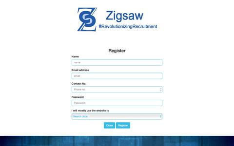 Screenshot of Signup Page zigsaw.in - Zigsaw|Revolutionizing Recruitment - captured Oct. 26, 2017