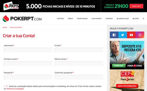 Screenshot of Signup Page pokerpt.com - Criar a tua Conta!   PokerPT.com - captured Feb. 12, 2019
