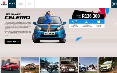Screenshot of Home Page suzukiauto.co.za - Suzuki Range | New Suzuki | Used Suzuki | Suzuki Cars - captured Dec. 2, 2016