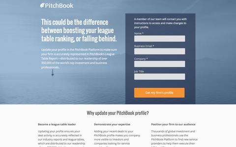 Screenshot of Landing Page pitchbook.com - Update your PitchBook Profile - captured Feb. 13, 2016