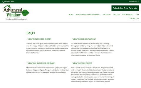 Screenshot of FAQ Page advancedwindowinc.com - FAQ   Advanced Window - captured Oct. 3, 2018