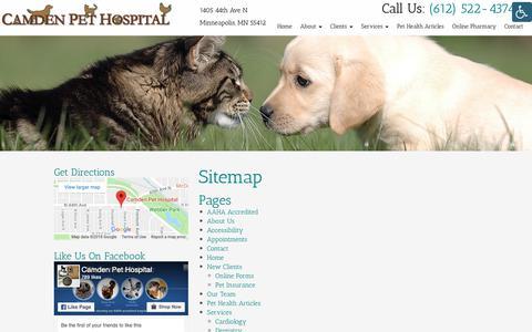 Screenshot of Site Map Page camdenpet.com - Sitemap | Camden Pet Hospital - captured Sept. 26, 2018