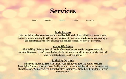 Screenshot of Services Page theholidaylightingpros.com - HolidayLightingPros | Services - captured Oct. 18, 2018