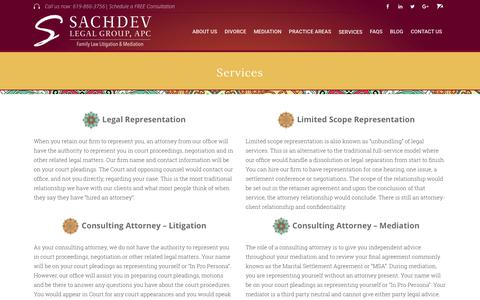 Screenshot of Services Page sachdevfamilylaw.com - Services - San Diego Divorce Attorney & Mediator - captured Oct. 1, 2018