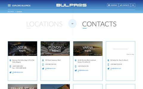 Screenshot of Locations Page bulpros.com - Bulpros Consulting - captured July 27, 2016