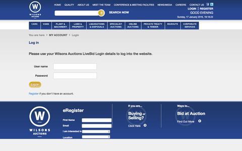 Screenshot of Login Page wilsonsauctions.com captured Jan. 17, 2016