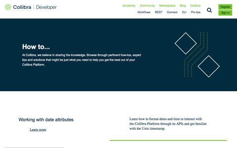 Screenshot of Developers Page collibra.com - Collibra Developer Pro Tips | Collibra University - captured Feb. 12, 2020