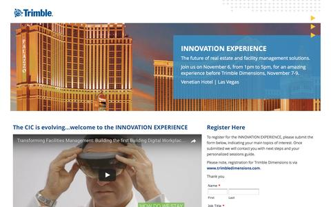 Screenshot of Landing Page trimble.com - CIC is evolving... welcome to the INNOVATION EXPERIENCE - captured April 27, 2017
