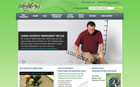 Screenshot of Home Page snaketray.com - Cable Trays, Cable Management Systems and Power Distribution Solutions | SnakeTray 1-800-308-6788 - captured Oct. 8, 2014