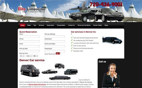 Screenshot of Home Page denver-elitelimousine.com - Denver Car Service  Denver Airport Limousine  Dia Taxi Service - captured Sept. 30, 2014