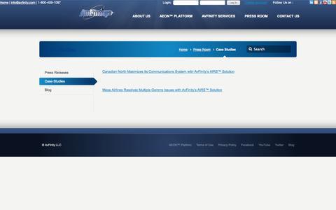 Screenshot of Case Studies Page avfinity.com - Case Studies –  AvFinity LLC - captured Oct. 4, 2014