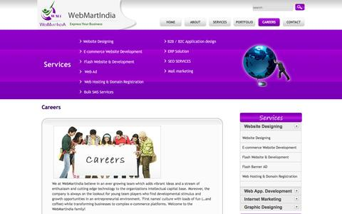Screenshot of Jobs Page webmartindia.in - Web Designing Company India, Web Development Services Delhi,Website Development India,MLM software development company,MLM software solutions Delhi,Multi Level Marketing, MLM Promotions - WebMartIndia - captured April 17, 2016