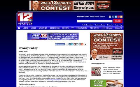 Screenshot of Privacy Page wsfa.com - Privacy Policy - WSFA.com Montgomery Alabama news. - captured Oct. 26, 2014