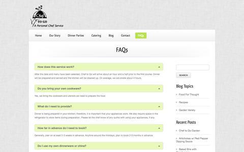 Screenshot of FAQ Page cheftogo.biz - Chef To GoFAQs - Chef To Go - captured Sept. 29, 2014
